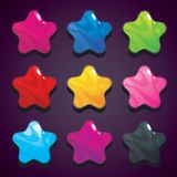 Cartoon jelly stars in different colors, isolated vector. Stock Images