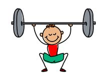Weight lifter kid.Cartoon kid vector illustartion. Vector illustration of  cartoon kid. weight lifter kid Stock Photos