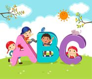 Cartoon kids with ABC letters. Vector illustration of cartoon kids with ABC letters vector illustration