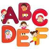 Cartoon kids with ABCDEF letters. Vector illustration of cartoon kids with ABCDEF letters Royalty Free Stock Image