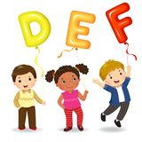 Cartoon kids holding letter DEF shaped balloons. Vector illustration of cartoon kids holding letter DEF shaped balloons Royalty Free Stock Photo