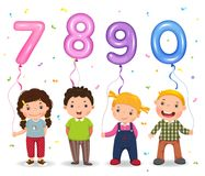 Cartoon kids holding number 7890 shaped balloons Royalty Free Stock Photography