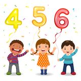 Cartoon kids holding number 456 shaped balloons Royalty Free Stock Photo