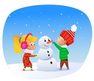 Vector Illustration of cartoon kids making snowman. stock illustration