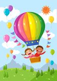 Cartoon kids riding a hot air balloon over the field. Vector illustration of cartoon kids riding a hot air balloon over the field stock illustration