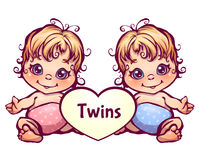 Vector illustration of cartoon little baby twins Stock Photo