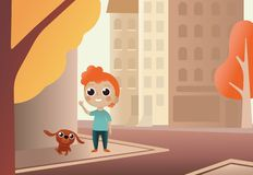 Vector Illustration Cartoon Little Dog and Boy.Kid walk dog along city street against buildings on background. Cartoon royalty free illustration