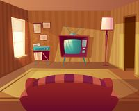 Vector cartoon living room with sofa, TV. Vector illustration of cartoon living room. Front view from sofa to TV set, vinyl player. Light from window on vector illustration