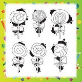 Vector illustration with cartoon lollipops Stock Images