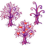 Vector illustration of cartoon love tree with Stock Photography