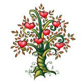 Vector illustration of cartoon love tree with Royalty Free Stock Photography