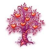 Vector illustration of cartoon love tree with Stock Photo