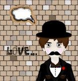 Vector illustration of cartoon mafia man with Royalty Free Stock Photo