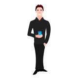 Vector illustration of a cartoon man in  black suit and with  glass  water,  manager or an office worker. eps8 Stock Photography