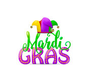 Vector illustration of cartoon Mardi Gras text sign with jesters hat Royalty Free Stock Photography