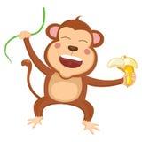 Vector Illustration Of Cartoon Monkey Royalty Free Stock Photography