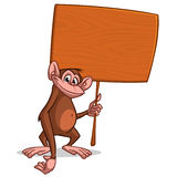 Vector illustration of Cartoon monkey with wooden sign stock photography