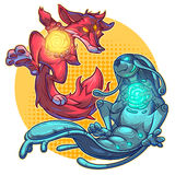 Vector illustration cartoon monsters. Vector illustration of a cartoon fire fox and monster water element Royalty Free Stock Photography
