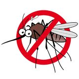 Cartoon mosquito repellent sign. Vector illustration of a cartoon mosquito and prohibition sign Royalty Free Stock Image