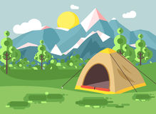 Vector illustration cartoon nature national park landscape with lonely tent camping hiking rules of survival bushes Royalty Free Stock Image