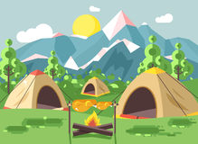 Vector illustration cartoon nature national park landscape with three tents with bonfire, open fire chicken is fried. Stock vector illustration cartoon nature Stock Photos