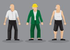 Old Men Vector Cartoon Character Illustration. Vector illustration of cartoon old men in different outfits isolated on grey background Royalty Free Stock Photography