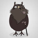 Vector Illustration cartoon owl with glasses, pipe and cane Royalty Free Stock Photos