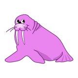 Vector illustration of cartoon pink walrus Royalty Free Stock Photos