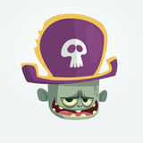 Vector illustration of Cartoon Pirate zombie head. Halloween zombie mascot in pirate bicorne hat with skull emblem. Isolated icon. Royalty Free Stock Photography