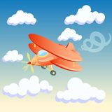 Vector illustration of a cartoon plane on the background of the morning sky with clouds. Beautiful  illustration of a cartoon plane on the background of the Stock Images