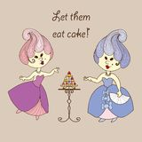 Vector illustration - cartoon princess eat cake. Vector hand drawn illustration - two cartoon princess eat cake. Dress and hairstyle in Marie Antoinette style Stock Image