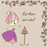 Vector  illustration - cartoon princess eats cake. Vector hand drawn illustration - two cartoon princess eat cake. Dress and hairstyle in Marie Antoinette style Royalty Free Stock Images