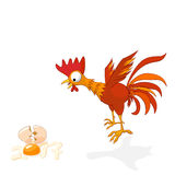 Vector illustration of cartoon rooster in shock, broken egg is stylized numbers 2017. Rooster symbol of the New Year Chinese calen Stock Photo