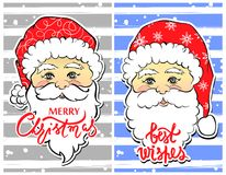 Vector Illustration of cartoon Santa Claus with best wishes lett. Ering. Cute Merry Christmas and Happy New Year card. Xmas symbols. Beautiful festive decoration Stock Photo