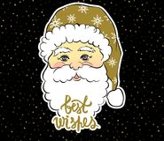 Vector Illustration of cartoon Santa Claus with best wishes lett. Ering. Cute Merry Christmas and Happy New Year card. Xmas symbols. Beautiful festive decoration Royalty Free Stock Image