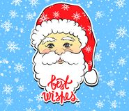 Vector Illustration of cartoon Santa Claus with best wishes lett. Ering. Cute Merry Christmas and Happy New Year card. Xmas symbols. Beautiful festive decoration Royalty Free Stock Images