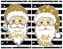 Vector Illustration of cartoon Santa Claus with best wishes lett. Ering. Cute Merry Christmas and Happy New Year card. Xmas symbols. Beautiful festive decoration Stock Images