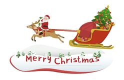Santa Claus riding a reindeer. Vector Illustration Cartoon : Santa Claus riding a reindeer waving merry christmas greetings and drag car sled snow full load gift Stock Image