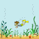 Vector illustration of cartoon seabed with seaweeds swimmers. Vector illustration of cartoon seabed with seaweeds and swimmers Royalty Free Stock Images