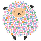 Vector illustration of a cartoon sheep. Stylized ram. Art for children. Animal from geometric figures. Forest dweller on Stock Photography