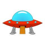 Vector illustration of a cartoon ship UFO Stock Photos