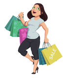 Vector illustration of cartoon shopping girl Royalty Free Stock Images