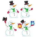 Vector illustration of a cartoon snowman with gifts in hands Royalty Free Stock Image