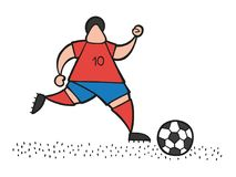 Vector cartoon soccer player man running and dribble ball on pit. Vector illustration cartoon soccer player man running and dribble ball on pitch Stock Photo
