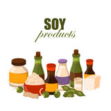 Vector illustration with cartoon soy products Stock Photos