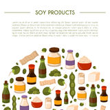 Vector illustration with cartoon soy products Stock Photography