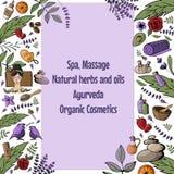 Vector illustration with cartoon spa, massage, organic cosmetics vector illustration