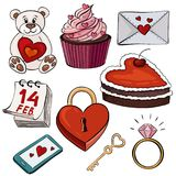 Vector illustration of cartoon stickers for Saint Valentine holi. Day. The illustration shows a bear with a heart, a cake, a love letter, a calendar for February Royalty Free Stock Photo