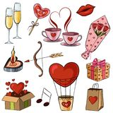 Vector illustration of cartoon stickers for Saint Valentine holiday. The illustration shows glasses with champagne, a gift, a kiss, a bow and a cupid arrow, a Royalty Free Stock Photo