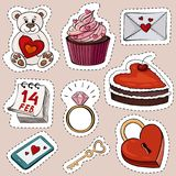 Vector illustration of cartoon stickers for Valentine`s day. The illustration shows a bear with a heart, a cake, a love letter, a calendar for February 14, a Royalty Free Stock Photos